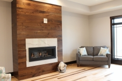 Walnut Shiplap Fireplace
