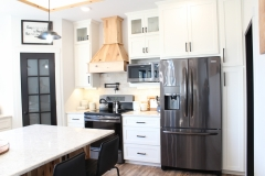 White and hickory kitchen cabinets