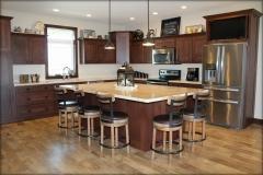 Dark Oak Kitchen Cabinets and Kitchen Island